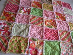 THE SUMMER SORBET  Rag quilt patchwork blanket by thetrunkshow, $79.95