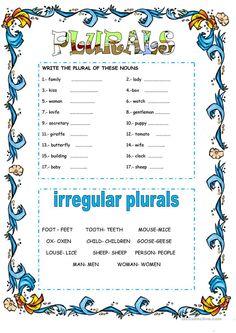 English Phonics, Teaching English Grammar, English Grammar Worksheets, Grammar Lessons, English Vocabulary, Plurals Worksheets, Pronoun Activities, Parts Of Speech Worksheets, Kindergarten Worksheets