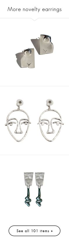 """""""More novelty earrings"""" by shulamithbond on Polyvore featuring jewelry, earrings, long earrings, bronze jewelry, long stud earrings, white jewelry, white bronze jewelry, accessories, cuff jewelry and metal jewelry"""