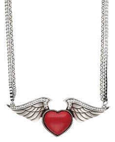 Rock 47® by Wrangler® Tattoo Art Red Stone Heart on Wings Necklace. This silver-tone necklace hangs on a pair of 18 inch matinee length chains featuring a red stone heart on wings accented with twisted rope and clear rhinestone details, hung in line with the chain for a striking, seamless look.
