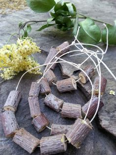 Elder wood beads sacred wood beads fairy by Pineneedlesweetgrass