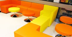 Guildford College orange modular cubes   Spaceist supplied loose furniture for Guildford College in their refurbished food zone used as a dining and recreation facility for students and staff.