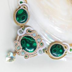 Collana Malachite Soutache