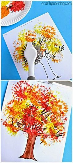 Dish brush tree painting fall crafts for kids, art for kids, autumn activities for Fall Crafts For Kids, Thanksgiving Crafts, Holiday Crafts, Kids Crafts, Art For Kids, Fall Art For Toddlers, Fall Crafts For Preschoolers, Autumn Art Ideas For Kids, Fall Activities For Toddlers