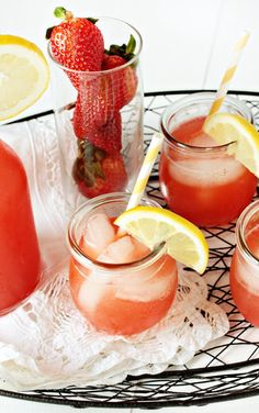Homemade Strawberry Lemonade  INGREDIENTS:  1 cup sugar  1 cup of water  1 pint fresh strawberries  1 cup fresh lemon juice  4-6 cups cold water (this will vary depending on your taste)  1 cup vodka, optional