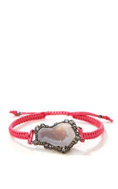 Kimberly McDonald White Geode And Irregular Diamond On Light Neon Pink Macrame In 18K White Gold With Black Rhodium