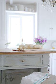 Get the Look: Vintage inspired Kitchen Island -  I am pretty much in love with all those soft old faded finishes    that an antique piece of furnitu...
