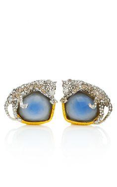 Alexis Bittar- Siyabona Gold Cerulean Panther Clip Earrings