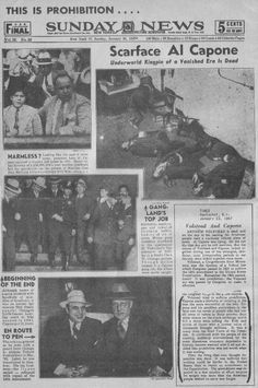 Newspaper announces Capone's Death January the death of Al Capone. Newspaper Front Pages, Newspaper Article, Old Newspaper, Al Capone, Real Gangster, Mafia Gangster, Gangster Quotes, History Facts, World History