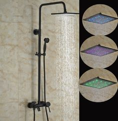 Linville Oil Rubbed Bronze Wall Mounted Square Hot & Cold Water LED RainFall Shower Head with Handheld Shower & Tub Spout Bronze Shower Head, Bronze Bathroom, Bathroom Fixtures, Bathrooms, Hand Held Shower, Shower Set, Rain Shower, Oil Rubbed Bronze Faucet, Rainfall Shower