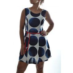 Dámske šaty s čierno-modrými guľami - biele
