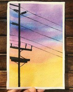 Cute Canvas Paintings, Watercolor Art Paintings, Sky Painting, Galaxy Painting, Watercolor Landscape, Watercolors, Watercolor Techniques, Drawing Techniques, Watercolor Jellyfish