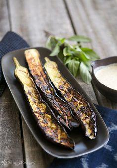 Grilled Japanese Eggplant with Tahini Sauce ~ Tender long Japanese eggplants quickly grilled, served with sesame tahini sauce. ~ SimplyRecipes.com