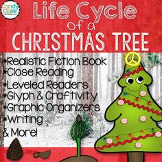Want to add some Christmas fun, but you got to keep it educational? Do you want to squeeze in some science too? This engaging, fun unit studies the life cycle of a Christmas tree! It includes an original realistic fiction book about the life cycle of a Christmas tree, so you don't have to hunt down any books! Also, it includes close reading, leveled readers, graphic organizers, writing activities, a glyph with craftivity, vocabulary cards, and more! $