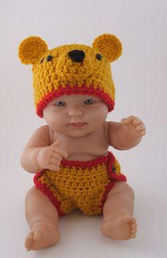 Winnie the Pooh Bear Hat &  Diaper Cover  by KreativeKroshay, $35.00