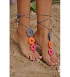 Crochet Barefoot Sandals Nude shoes Foot jewelry by barmine Crochet Barefoot Sandals, Barefoot Shoes, Foot Jewelry Wedding, Wedding Shoes, Beach Jewelry, Bare Foot Sandals, Beach Sandals, Grey Sandals, Crochet Accessories