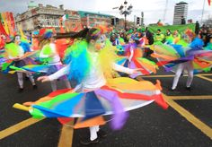 A young girl performs during the St Patrick's Day festivities in Dublin, Ireland on March 17, 2012. More than 100 parades are being held across Ireland to mark St Patrick's Day, with up to 650,000 spectators expected to attend the parade in Dublin.