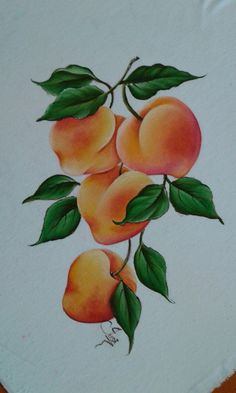 Pêssego Fruit Painting, China Painting, Tole Painting, Fabric Painting, Fruit Picture, Sola Wood Flowers, Painted Books, Color Pencil Art, Fruit Art