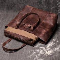 Vintage Mens Womens Leather Large Tote Handbag Shoulder Tote Purse Tote Bag For Men Large Handbags, Tote Handbags, Handmade Leather, Vintage Leather, Tote Purse, Tote Bags, Leather Crafts, Custom Bags, Large Tote