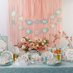 """Our Tea Time Whimsy """"Par-Tea"""" Time Party Kit is perfect for every sweet occasion from baby shower to bridal shower to just because you want a reason to drink tea and eat brunch party. Using the highest quality materials our decorations will stand up to not one but all of these parties and look spectacular. We use timeless design and the colors that are on trend so that you can use our decorations to compliment any party design theme. Included in the package are two pre-strung banners: one banner Bridal Shower Tea, Tea Party Bridal Shower, Floral Baby Shower, Bridal Shower Favors, Bridal Showers, Bridal Luncheon, Baby Showers, Tea Party Table, A Table"""