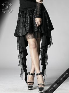 Layered blackfrilly lace asymmetric Gothic skirt. Note the cross pendants sewn to the edge of the skirt! (see close-up photos) Free size skirt fits