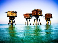 Maunsell Sea Forts off Herne Bay, Whitstable, England Maunsell Forts, Kent Coast, Seaside Holidays, Spooky Places, Unique Architecture, River Thames, Photo Series, East Sussex, Cool Photos