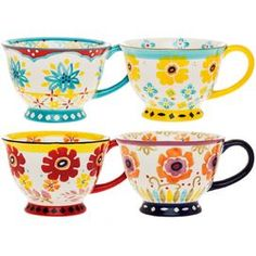 "Stoneware mug with an artful floral motif.  Product: Set of 4 mugsConstruction Material:  StonewareColor: MultiFeatures: Floral motifDurable and chip resistant14 Ounce capacityHand-paintedDimensions: 6"" H x 4.5"" W x 3.2"" D Cleaning and Care:  Dishwasher and microwave safe"