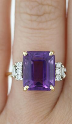Awesome Emerald Cut Amethyst Ring