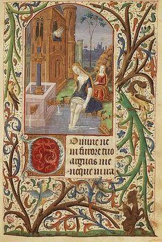 The Hague, KB, 76 G 8 fol. 93r, David sees Bathsheba bathing from a window of his palace