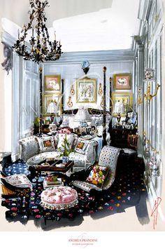 interior illustration and visualization, watercolor illustration, handmade rendering - classic - Andrea Prandini