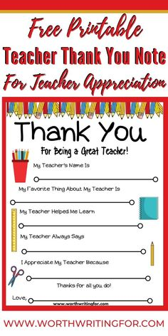 Free Printable Teacher Thank You Note {Perfect for Teacher Appreciation!} Need an idea for an easy teacher gift? I love this free printable teacher thank you note for a thoughtful inexpensive te. Teacher Thank You Notes, Easy Teacher Gifts, Be My Teacher, Teacher Name, Teacher Presents, Teacher Stuff, Appreciation Thank You, Teacher Appreciation Cards, Teacher Cards