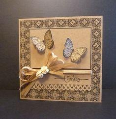 handmade thank you card by Reddyisco ... monochromatic kraft ... square format ... butterflies ... luv it!