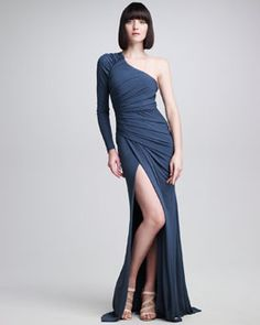 B1VBC Elie Saab One-Sleeve Ruched Jersey Gown