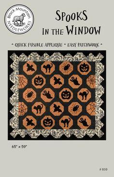 Halloween quilt pattern by Black Mountain Needleworks -- Spooks in the Window quilt pattern. Halloween Quilt Patterns, Halloween Quilts, Pattern Books, Pattern Paper, Spider Legs, Halloween Decorations, Halloween Ideas, Black Mountain, Wool Applique