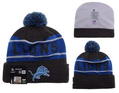 a3f2f2d0 Mens / Womens Detroit Lions New Era Black Friday 2015 Big Deals NFL Biggest  Fan Reflective Knit Beanie Hat With Pom - Black / Blue