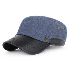 ililily Faux Leather Brim Military Cap Denim Cotton Adjustable Strap Army Capcadet5721 -- Learn more by visiting the image link.