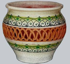 """Gorgeous terracotta vase can be displayed as art, or used as a flower pot. Beautiful filigree work, this vase measures 10"""" x 8"""", hand crafted and hand painted in Italy and shipped direct to you! $99.00 Please see this item and more on our website www.romeocuomoceramics.com"""