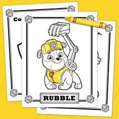 Is your preschooler a PAW Patrol fan? Have your kid color in this fun Rubble activity pack! This bulldozing Bulldog is one strong, eager and funny pup. Paw Patrol Rocky, Paw Patrol Pups, Paw Patrol Cake, Paw Patrol Birthday, Unicorn Birthday Parties, Boy Birthday, Firetruck Coloring Page, Paw Patrol Party Favors, Paw Patrol Coloring Pages