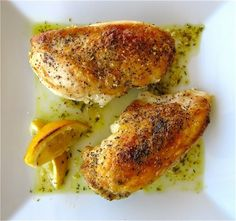 Lemon (& garlic) chicken breasts. Made this last week and it was SOOO good!