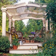 Deck Pergola to partly shade a large gathering space, design a pergola that spans the space's dimensions. Gently arched beams topped with 2x2s form the roof over this freestanding 8x8-foot deck. Lattice panels enclose the lower sides. Such a pretty place to spend some time!