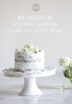 A delicious gluten-free, vegan/ dairy-free and low-sugar cake. Nut free and soy free. Naturally colored with Spirulina.