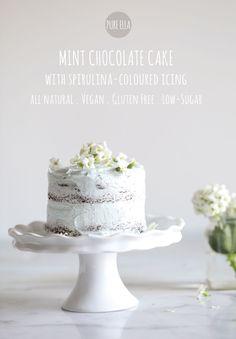 Spirulina coloured, gluten free Mint Chocolate Cake