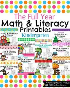 This growing bundle of kindergarten math and literacy printable worksheets are a No Prep, fun way to start out the school year. The current 225 worksheets are ready to be copied and passed out. Math Literacy, Kindergarten Math Worksheets, Kindergarten Reading, Fun Math, Literacy Stations, Homeschool Math, Maths, Homeschooling, Math Activities For Kids