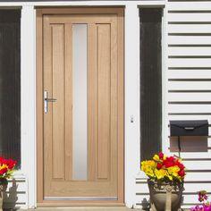 Padova External Oak Door with Obscure Safety Double Glazing - Lifestyle Image Oak Front Door, Double Front Doors, Front Porch, Contemporary Front Doors, Modern Front Door, The Doors, Entrance Doors, Panel Doors, Oak Door Frames