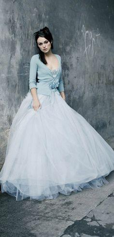 Blue cardigan with ballgown skirt