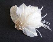 Ivory Feather Fascinator - Bridal Fascinator - Modern Bridal Headpiece