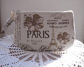 French Country  Linen Wristlet Zipper Gadget Pouch Retro Vintage - pinned by pin4etsy.com