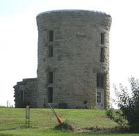The old water tower is a part of the former John A. Greene Estate, Stone City, Iowa.