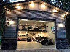 Garage Ideas For a MAN CAVE! Declutter and organize your garage then turn it into a man cave. Garage storage and organization ideas to take your garage from cluttered mess to organized success. LOTS of garage makeover pictures before and after! Design Garage, Garage Interior Design, Barndominium Floor Plans, Barndominium Pictures, Man Cave Garage, Man Cave Shed, Man Cave Pole Barn, Man Cave Diy, Car Man Cave