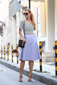 2014  pendant: H&M/ midi skirt: Mohito  /striped t-shirt: StyleMoi/ bag: StyleMoi/ sandals: Persunmall / circle pendant: Infinitine